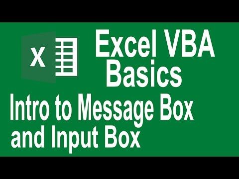 Excel VBA Programming Basics Tutorial # 7 | Introduction to Msgbox and InputBox - YouTube