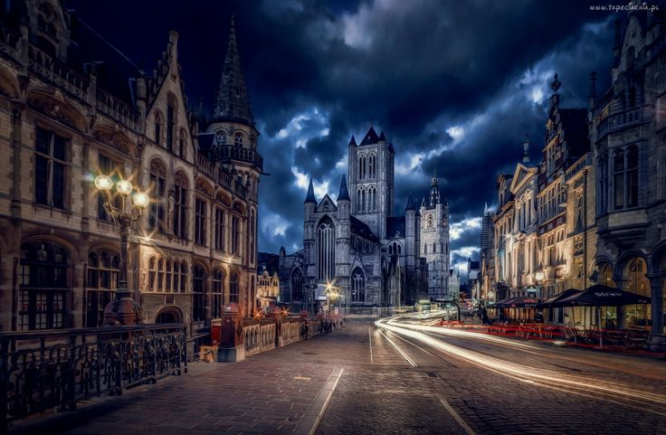 Miasto Nocą, Ulica, Budynki, Belgia
