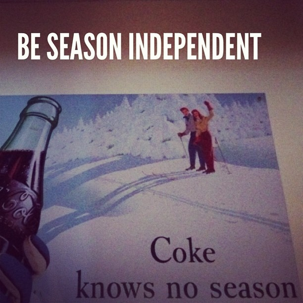 Be season independent. #loveallseasons #winter #darkness #depression #indifference #independent #cocacola #coke #bottle #skiing by @dadailydo, via Flickr