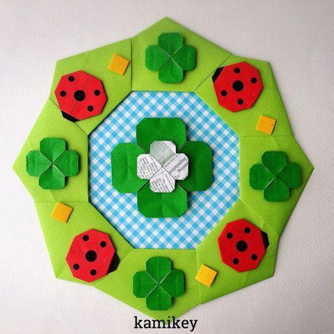 春の壁面にも!折り紙のリースで春の気分 の画像|おりがみで暮し楽しく✳︎創作折り紙 kamikey