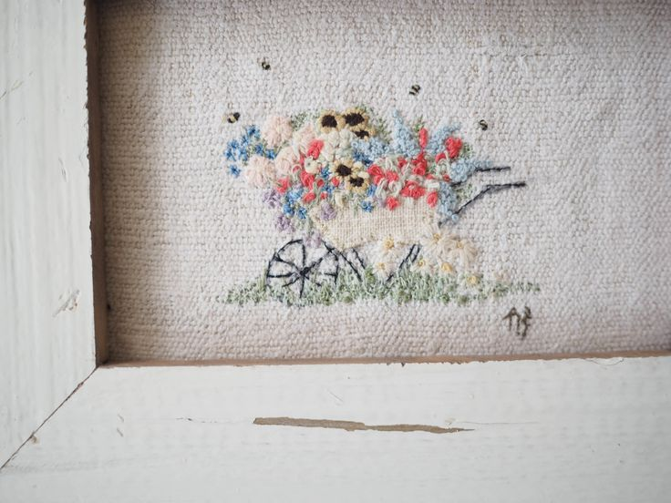 hand embroidered wheelbarrow picture freehand embroidery
