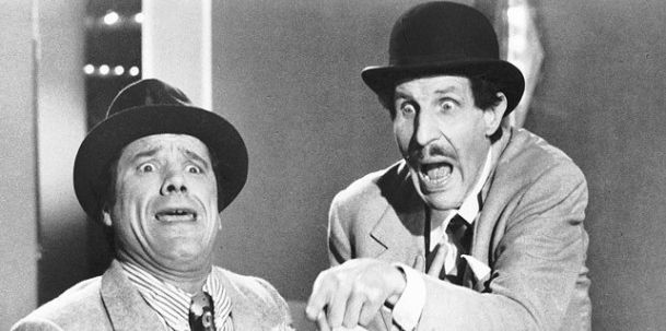 Franco Franchi and Ciccio Ingrassia, two famous comedian of the past in Italian, both came from Sicily and they were able to play with their identity making funny characters in movies and tv bringing expressions from sicilian language in media