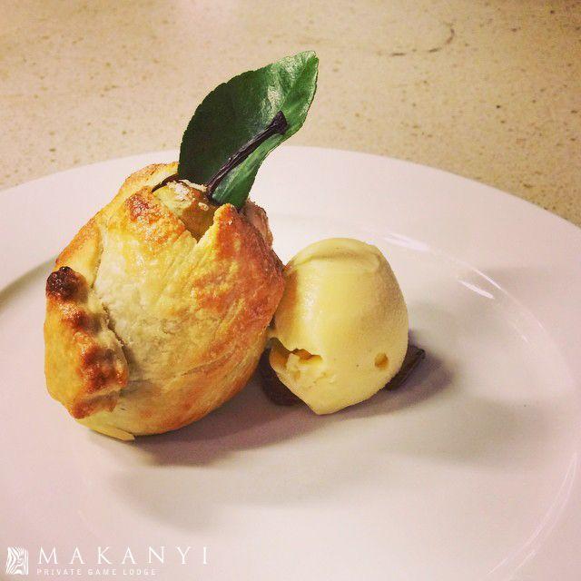 Pear, chocolate and almond tart with vanilla bean ice cream