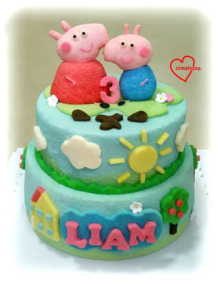 Loving Creations for You: Peppa Pig and George Tiered Chiffon Cake