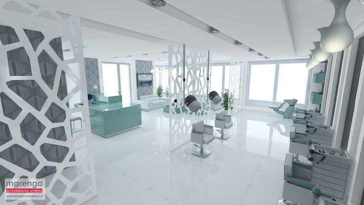 Salon fryzjerski Style 4 You w bieli, szarościach i stonowanym turkusie.