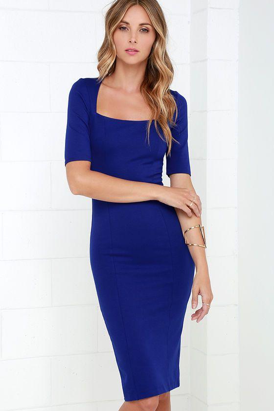 Elevated Royal Blue Bodycon Midi Dress at Lulus.com!
