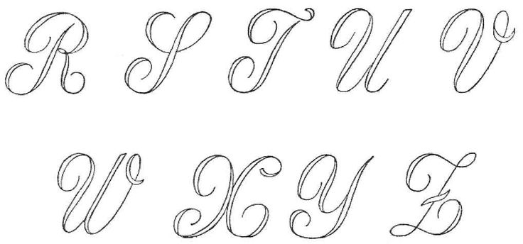 All The Letters In Cursive | cursive alphabet design for embroidery, r thru z