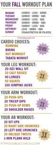 FREE FALL WORKOUT PLAN, team beachbody, 21 day fix, fit possible, coaching, challenge groups, fitness support, nutrition, stay at home mom, dog mom, bride to be, bride, engagement, wedding, mom, pizza, graphic tees, t25, insanity max 30, cize, shaun t, get in shape, lose weight, meal plan, portion control, color coded containers, fitness challenge, work from home, fitness business, team beachbody discount, september, october, november, fall season, running, biking, tabata, calf raises, push…