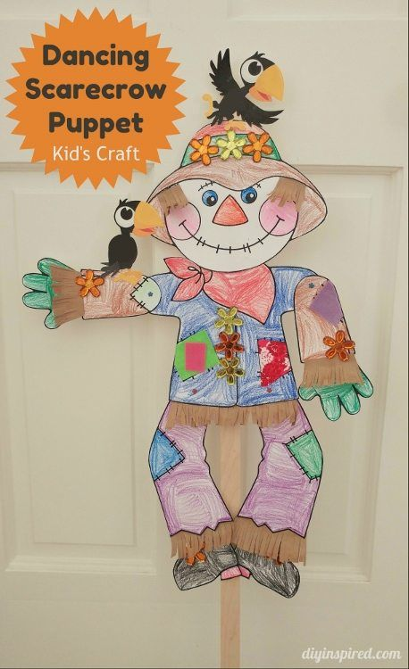 Dancing Scarecrow Puppet Fall Craft For Kids