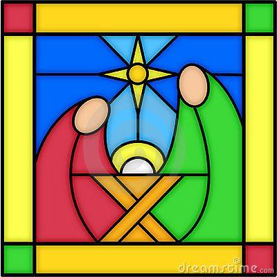 Natividade no vidro manchado