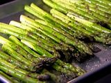 Roasted Asparagus... I usually put some olive oil in a bowl and add a little lemon juice and just enough brown sugar (like 1/4 tsp) to tone down the lemon. Mix and drizzle, then sprinkle with salt and/or lemon pepper seasoning. Yum!