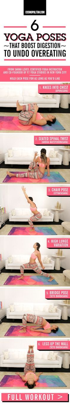 YOGA POSES THAT UNDO OVEREATING: Boost digestion, open the front of the body, and increase circulation to the abdominal organs with these gentle, yoga-inspired stretches from Sarah Levey, co-founder of Y7 Studio in New York City and certified yoga instructor, who demonstrates the moves here. Hold each pose for as long as you'd like, or perform them one after another. Click through for the full workout, for expert yoga and fitness tips, and for instructional gifs that show you how to do each…