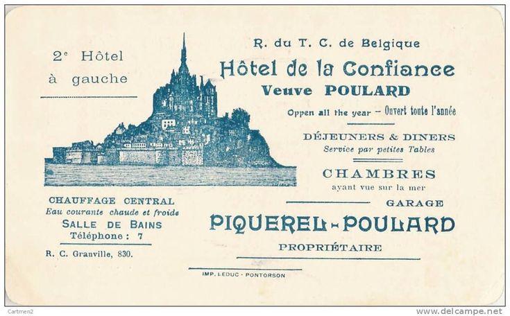 MONT-SAINT-MICHEL HOTEL DE LA CONFIANCE VEUVE MERE POULARD PIQUELREL-POULARD PROPRIETAIRE + DISTANCES DES VILLES AU DOS