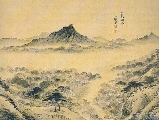 'Janganyeonu[(or Seoul in the misty rain; 장안연우 長安烟雨, 1753)'; ※ view of Seoul from Mt. Baekak(Pukak)] by Jeong Seon.
