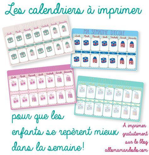 calendriers scolaires Calendrier de la semaine d'école à imprimer http://allomamandodo.com/le-calendrier-de-la-semaine-decole-imprimer-cadeau/