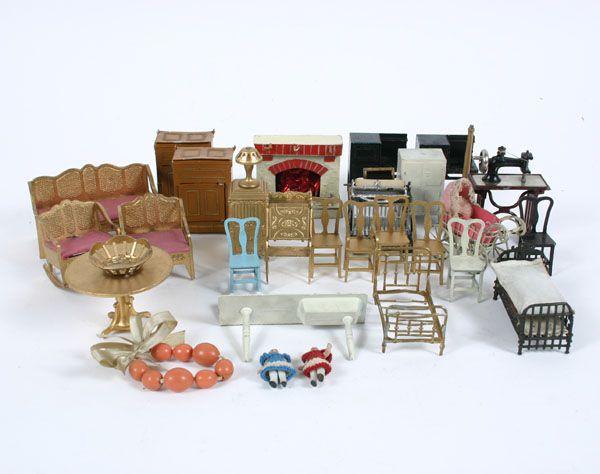 Vintage Overstuffed Doll Living Room Set