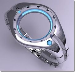 Solar technology watch with open middle from Tokyoflash--tells time with the lit areas