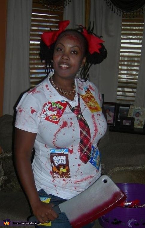 Cereal Killer - 2013 Halloween Costume Contest. I would change it up a bit but its a good idea!