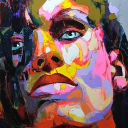 Armed with a palette coated in every imaginable paint color and a palette knife, Nielly constructs faces that are evocative and provocative