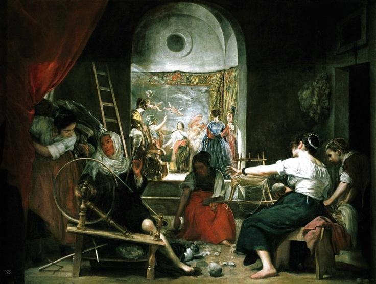 Aracne era un'abilissima tessitrice che sfidò la dea Atena in una gara di ricamo. La donna vinse, provocando l'ira della divinità che la trasformò in un ragno, condannandola a tessere per l'eternità. Nella foto «Le filatrici (La favola di Aracne)» di Diego Velázquez.  http://www.facebook.com/mostrartigianato