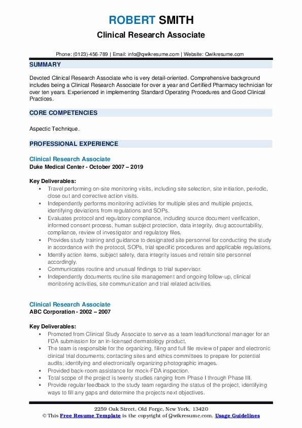 Clinical Research Associate Resume Sample Fresh Clinical Research Associate Resume Samples In 2020 Teacher Resume Examples Resume Examples Resume