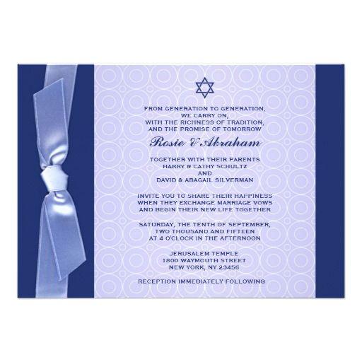 238 best jewish wedding invitations images on pinterest jewish jewish ribbon wedding flat invitations stopboris Image collections