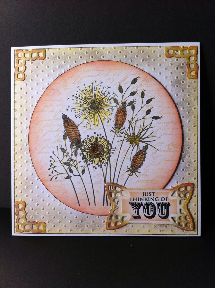 Woodware 'Going to Seed'. SB die: Lace Doily Accents. Sakura Stardust pen-yellow. Treasure Gold-White Fire. Distress inks.
