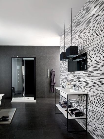 Black And White Gl Tile Bathroom Remodel Pinterest Tiles Home Décor