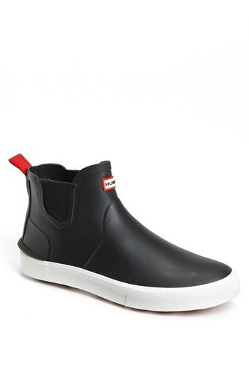 Hunter 'Daleton' Sneaker Boots - You can get where you're going without worrying about a little puddle or a big downpour. Made from natural rubber and completely waterproof up to the elastic gusset, these sneakers have all the weather benefits of clunkier boots without weighing you down. $115