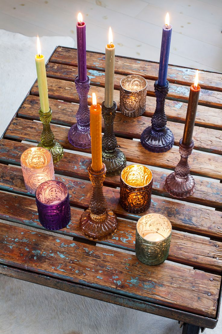 Inviting colors , Match and Mix decoration with photophores , candles holders and tall candles .... it is fun and friendly