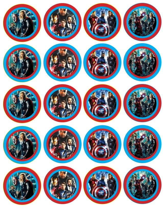Free Avengers Cupcake Toppers