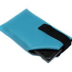 Housse de protection carte main libre simili cuir turquoise mixte homme femme