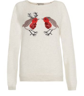 Cream Sequin Robins Christmas Jumper - my very first Christmas jumper