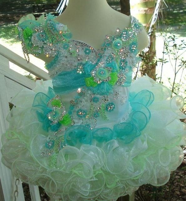 Glitz Blue And Green Little Girls Pageant Dresses 2016 girls ball gowns Short Pageant Gown for Girls Little Cup Cake