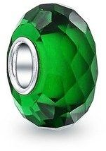 Bling Jewelry Green Faceted Crystal Simulated Emerald Glass Charm Bead .925 Sterling Silver.