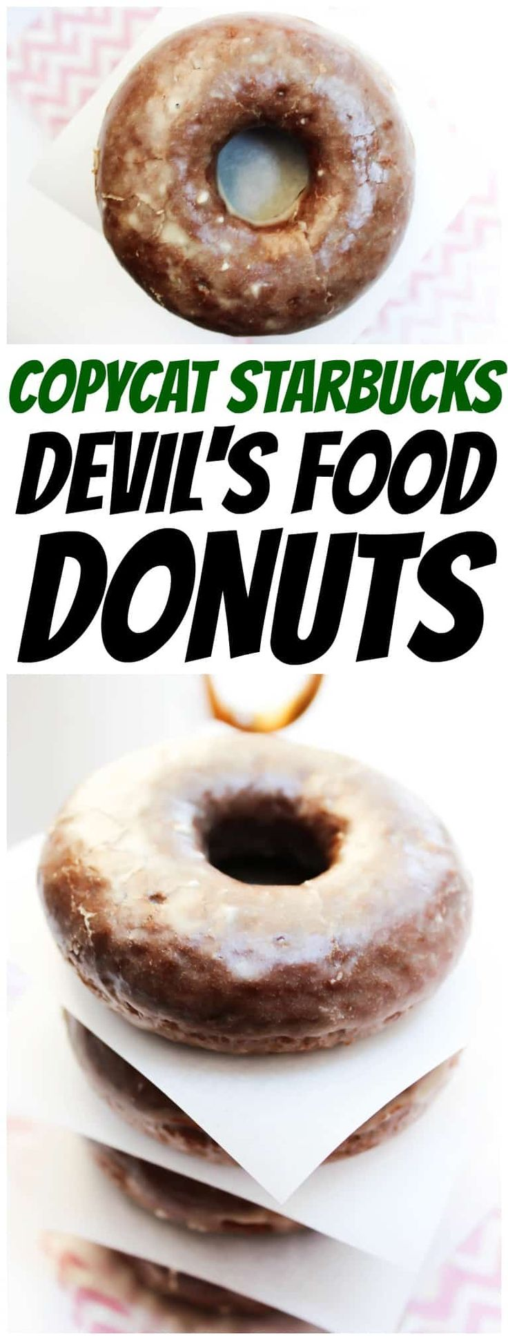 DEVIL'S FOOD DONUTS are insanely delicious. Covered in a vanilla-butter glaze, they're better that the real deal and healthier too! #donut #baked #devilsfoodcake #cake #vanilla #breakfast