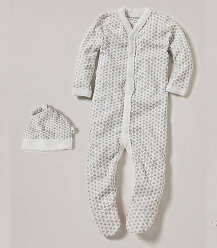 Burt's Bees makes affordable organic baby clothes!  Buzz All Over Snap Front Coverall and Hat Set: Color - Sail Blue