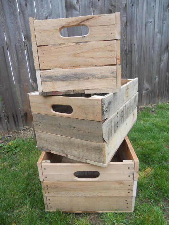 Pallet Storage Crates Reclaimed Wood Primitive Handmade Unfinished Lot Set 3 Box