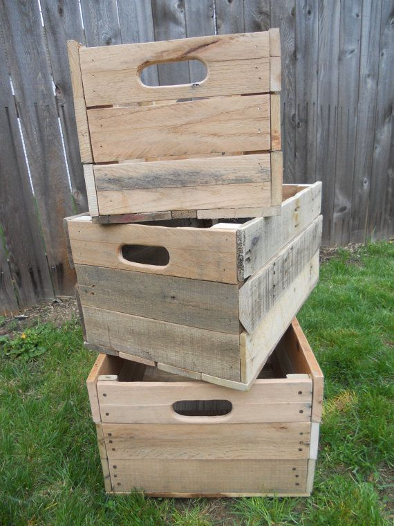 Pallet Storage Crates Reclaimed Wood Primitive Handmade Unfinished Lot Set 3 Box