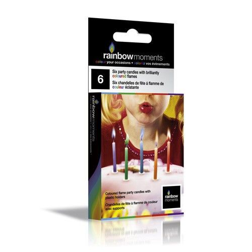 Rainbow Moments signature Color Flame Candle-pack of six