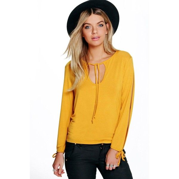 Boohoo Anna Tie Split Sleeve Swing Top (140 NOK) ❤ liked on Polyvore featuring tops, mustard, crop top, yellow crop top, long sleeve crop top, basic t shirts and mustard yellow top