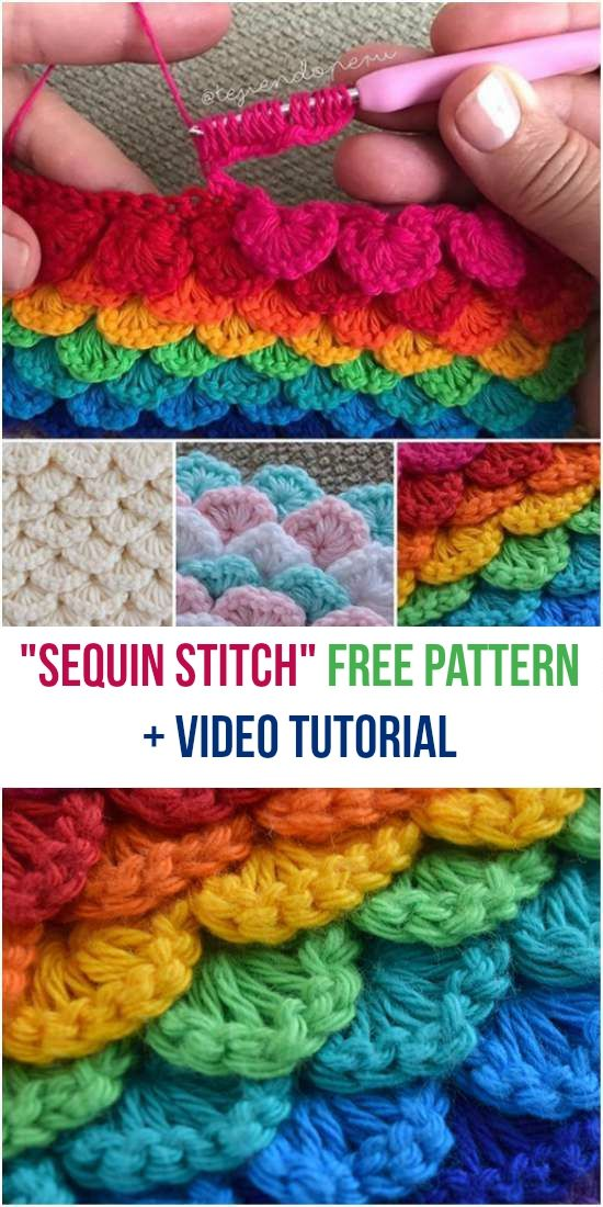 Sequin Stitch [Free Crochet Pattern + Video Tutorial] Crocheting stitch very similar to crocodile stitch, but not so complicated, easy. #crochet #stitch #SequinStitch #yarn #crochetpattern #videotutorial