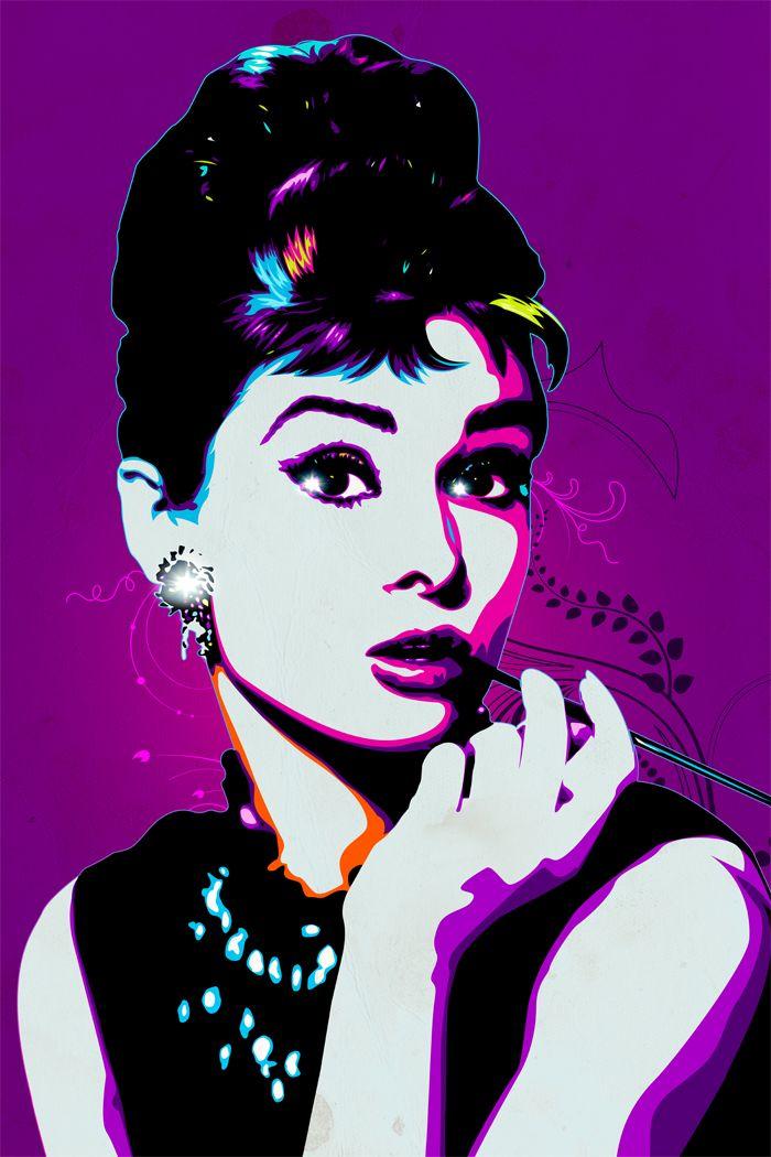 Audrey Hepburn Modern Pop Art Wall Art Printed On