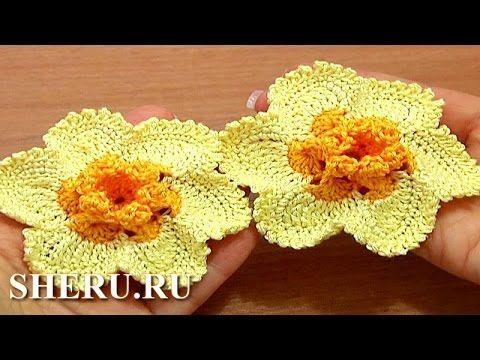 How To Crochet Narcissus Flower Урок 65 часть 2 из 2 Цветок нарцисс