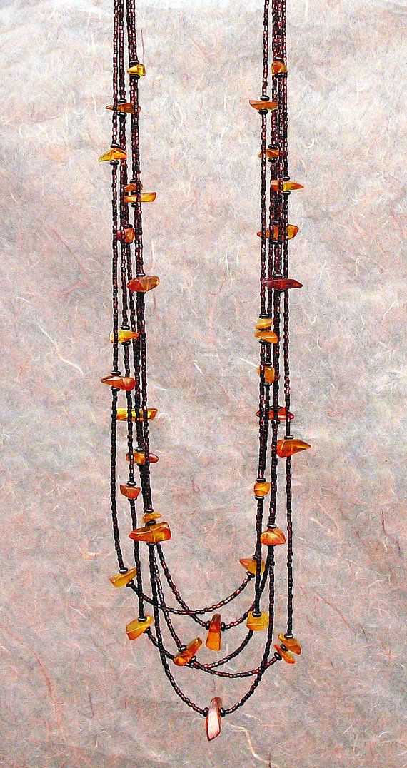 Long Amber Multi Strand Necklace Urban Chain by BacaCaraJewelry. #amber, #necklace, #multi, #strand, #long, #layered