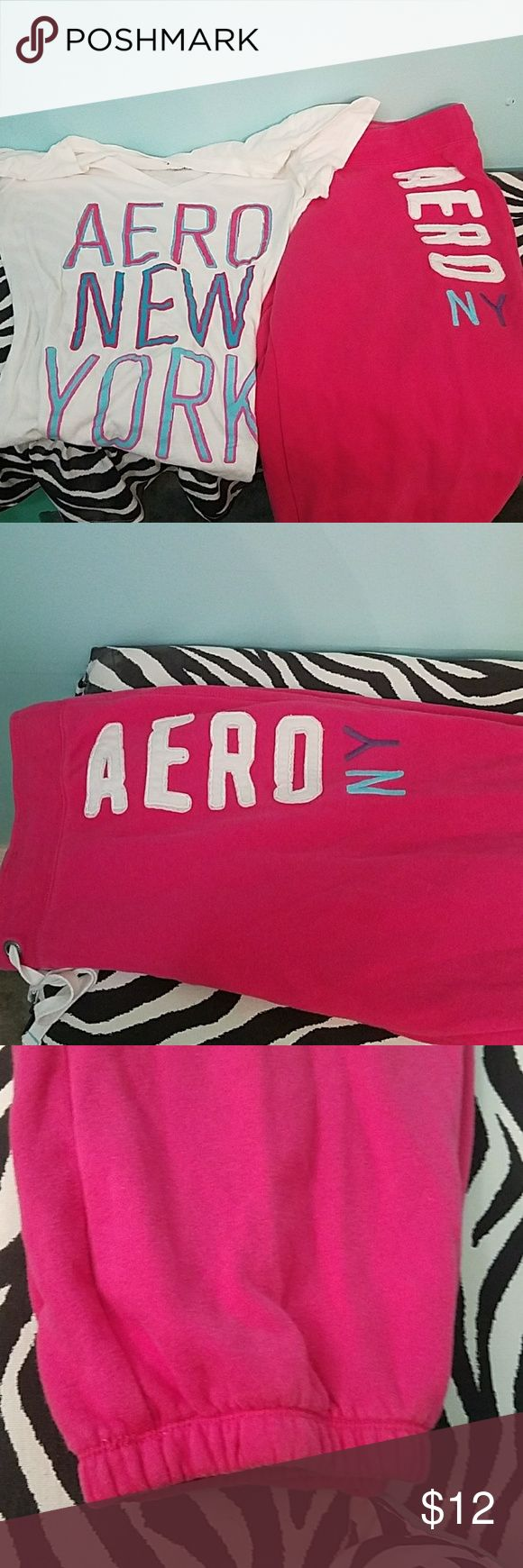 Ladies Aeropostale set Jogging pants style (cut short, like Capri length) with coordinating top,  worn but still tons of life left in this set! So cute on, especially with converse in a matching color! Aeropostale Other
