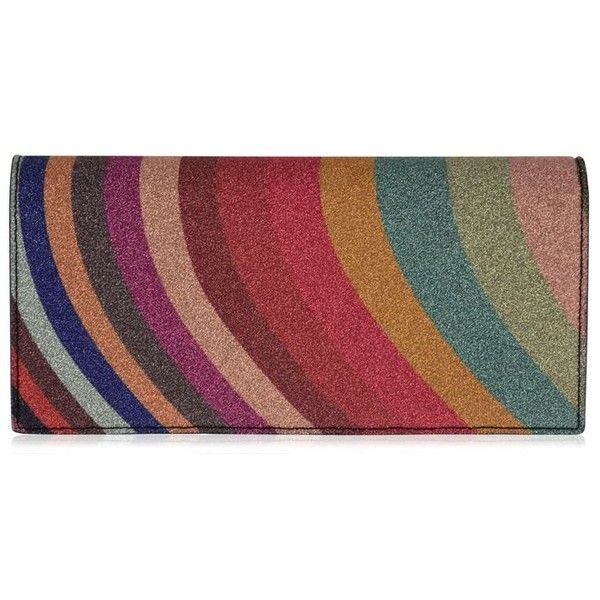 Paul Smith Glitter Striped Purse (€310) ❤ liked on Polyvore featuring bags, zip bag, leather zipper bag, red leather bag, zipper bag and glitter bag