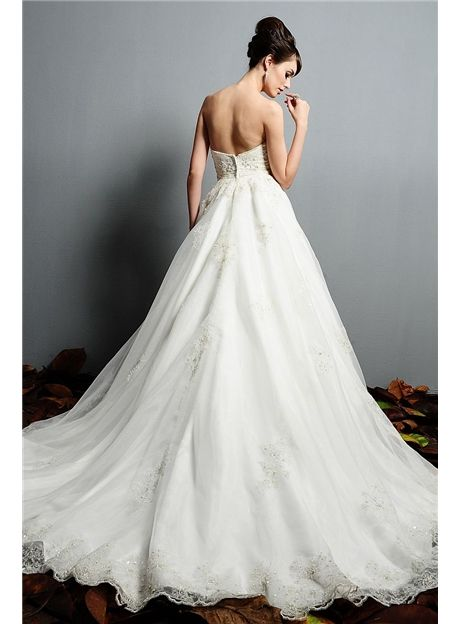 2012 Satin Sweetheart Neckline A-line Embroidery with Beadings Bridal Gown