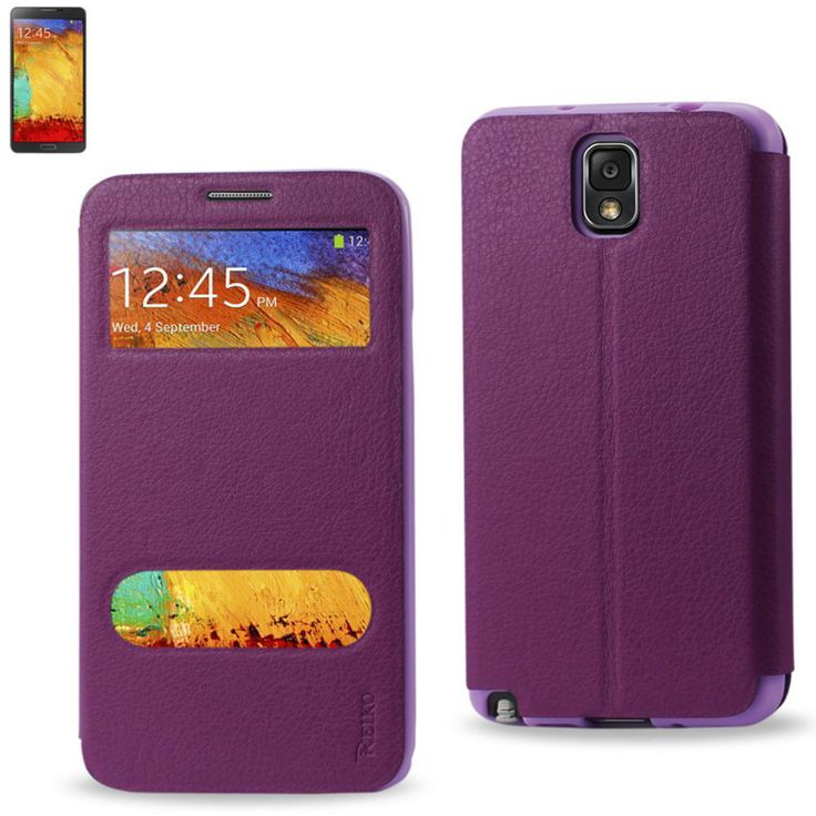 Reiko Fitting Case Lychee Pattern For Samsung Galaxy Note 3 Purple