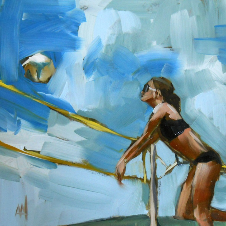 beach volleyball girl original painting by moulton 6 x 6 inches